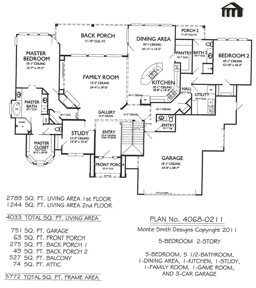 Monte Smith Designs 2 Story 1st Floor Like The Layout A Little Smaller Scale Would Be Neede House Floor Plans Narrow Lot House Plans Bedroom House Plans