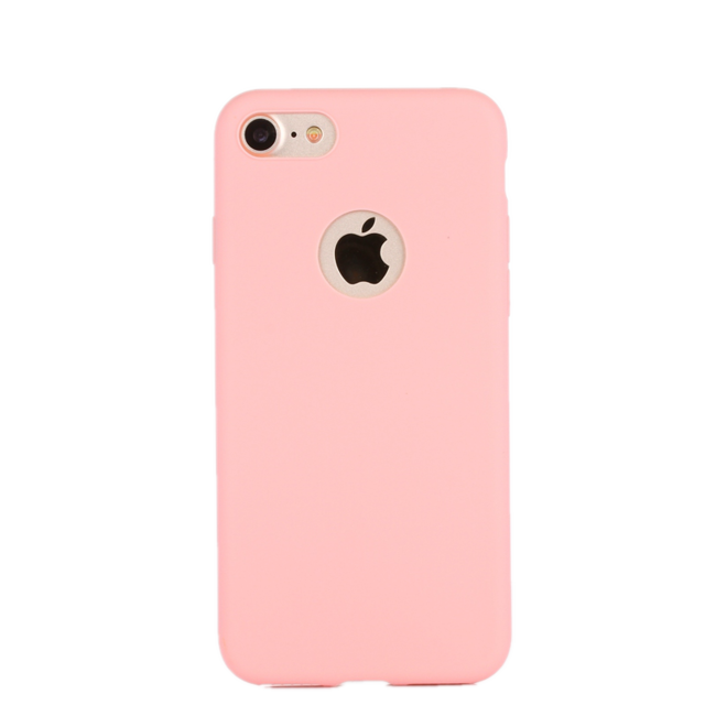 Matte Candy Color Silicone Soft iPhone 7 / 8 Cases Pink