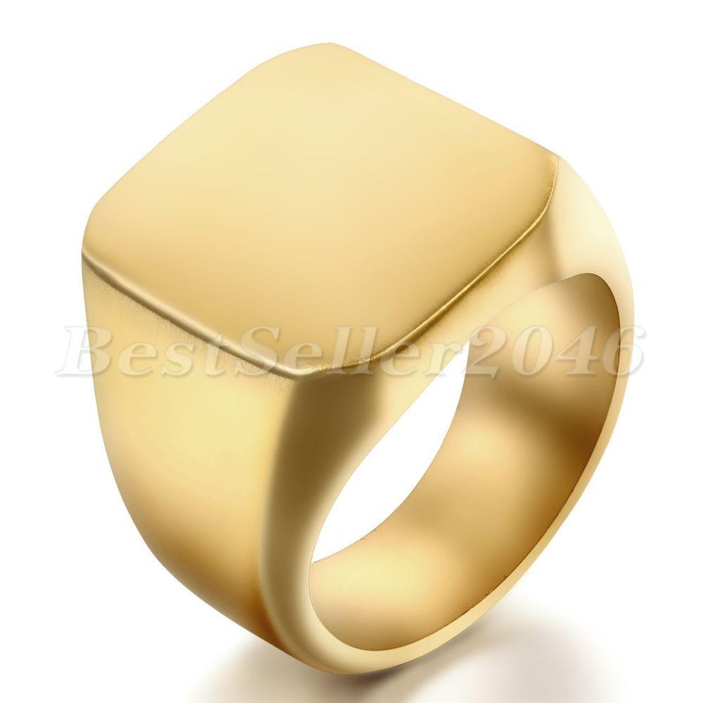 Herren Edelstahl Ring Ringe Gold Golden Quadrat Square Siegel Signet Polished
