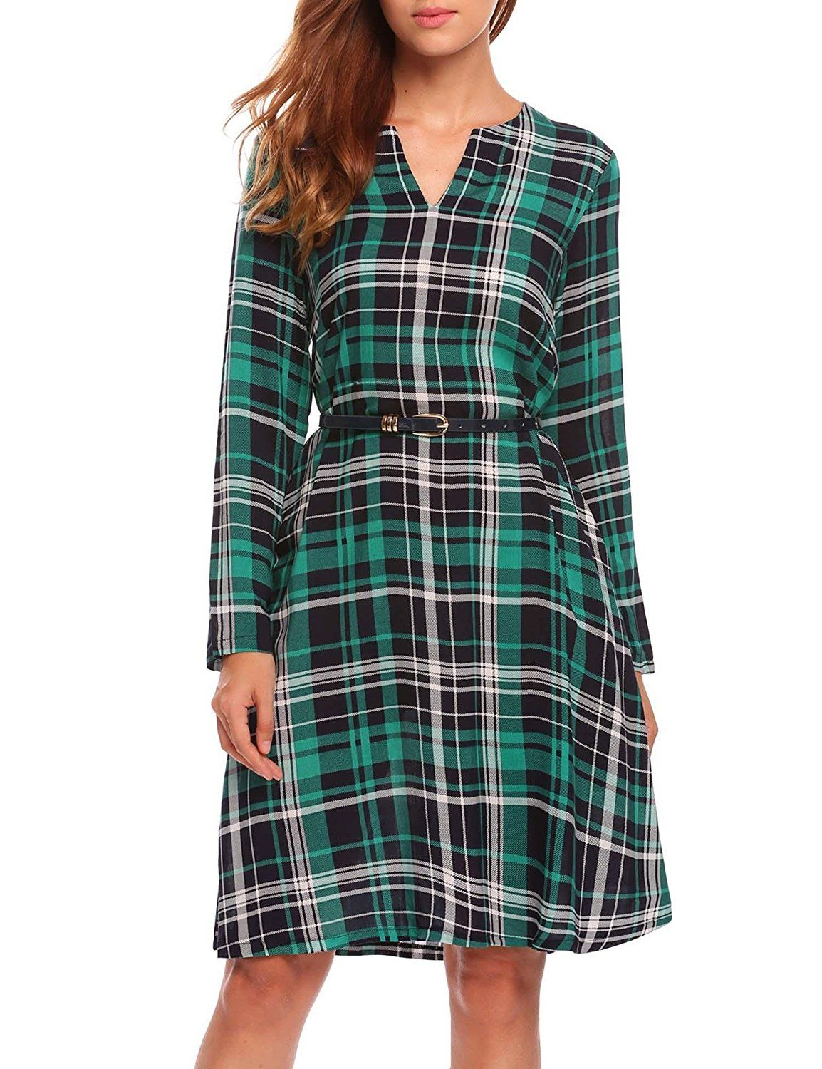 Beautytalk womenus plaid swing tunic casual loose long sleeve t