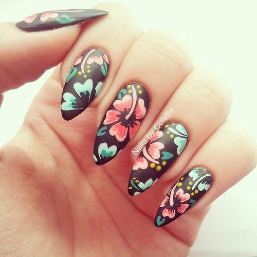 Hibiscus Flowers Nail Art Flower Nails Hawaiian Nails Pointed Nails
