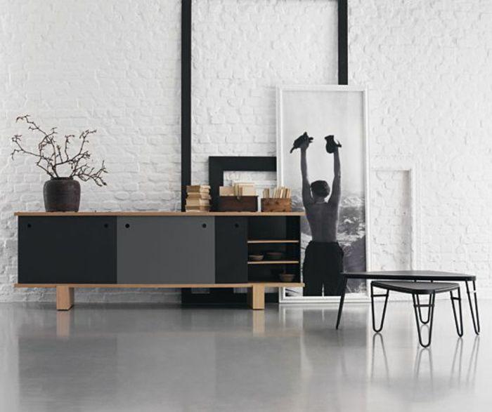 Bahut Ikea Noir Laque Et Sol En Lino Gris Pour La Salle De
