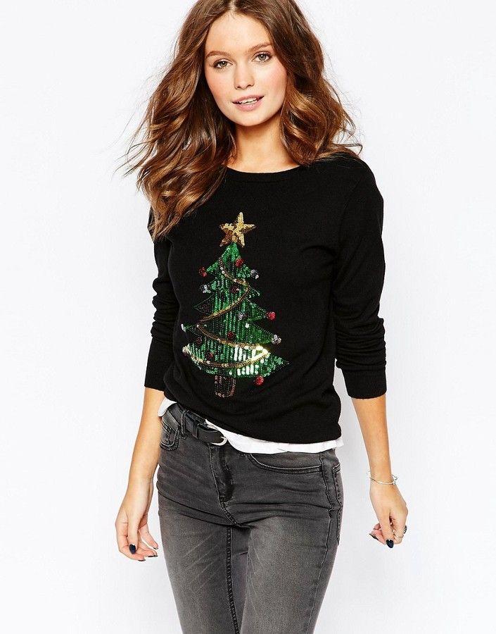 Fashion Union Sequin Christmas Tree Jumper Black Fashion Union Fashion Cute Christmas Sweater