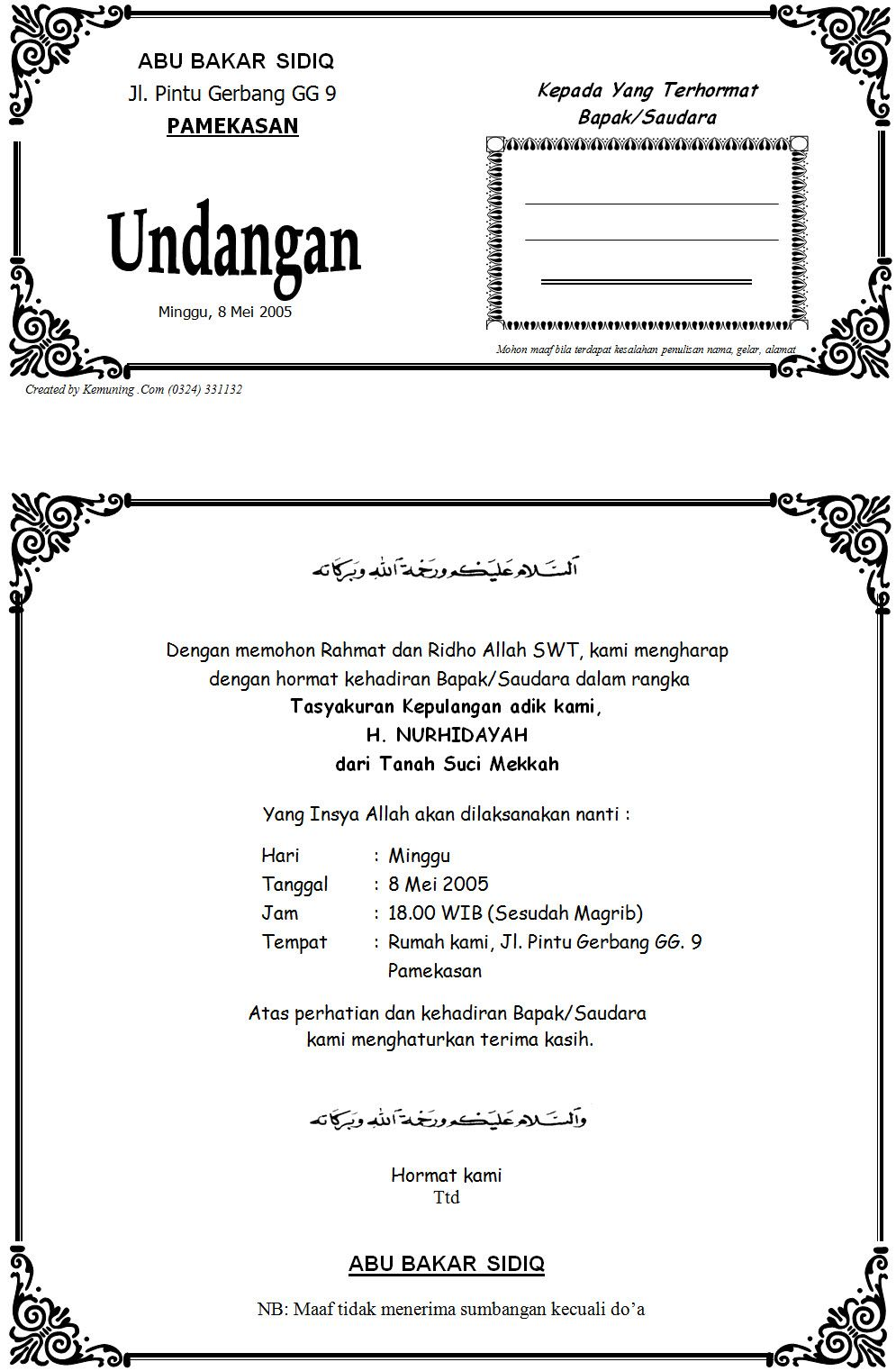 Hasil Gambar Untuk Contoh Undangan Manasik Haji Lengkap Undang Hji