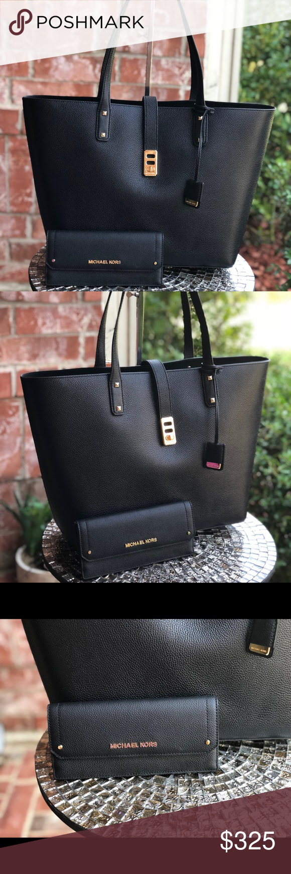 673465aed5eb Michael kors Karson large tote bag with wallet set MICHAEL KORS KARSON  LARGE TOTE CARRYALL LEATHER BAG $398 Style: 35T8GKRT3L Pebbled leather,  open top with ...