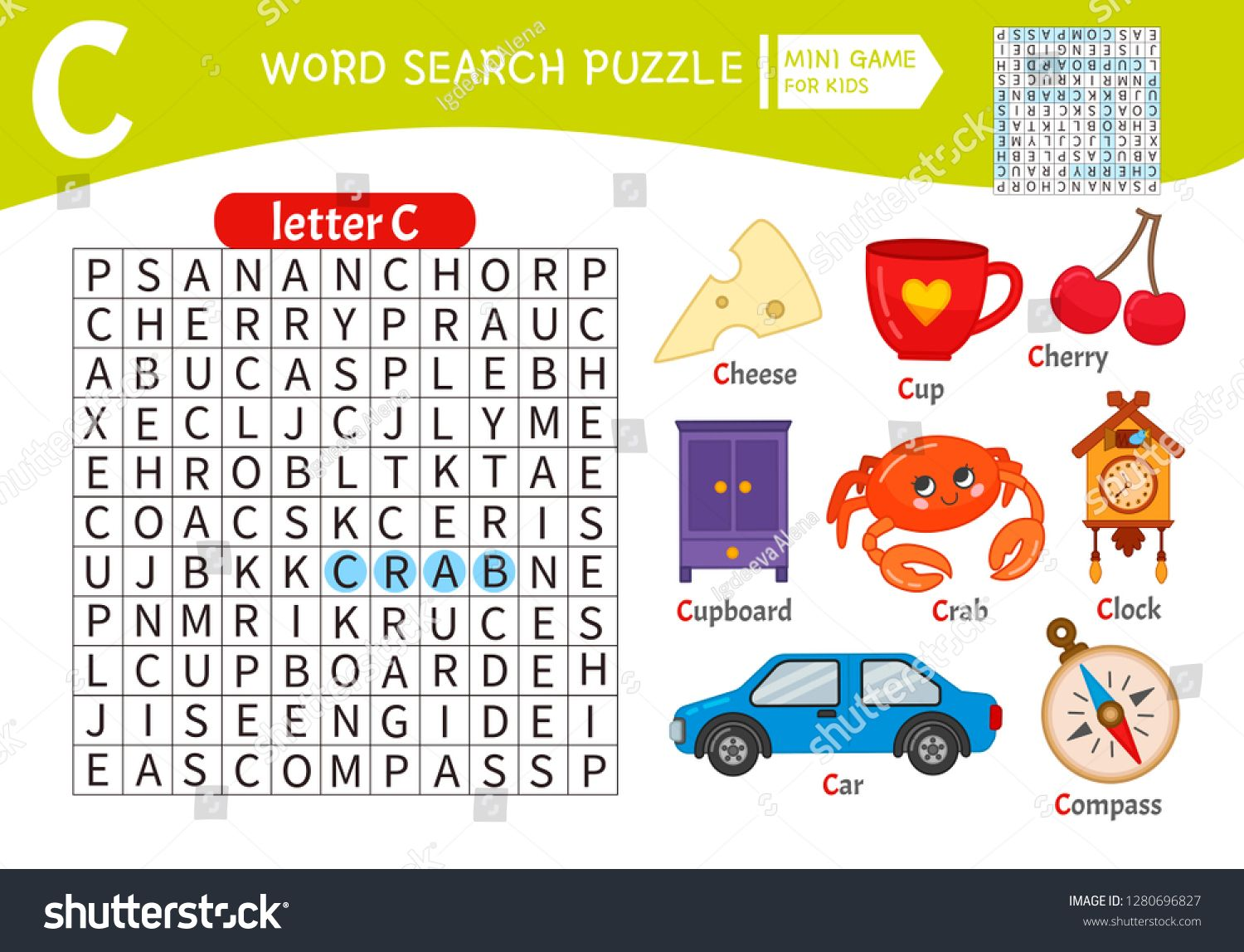 Words Puzzle Children Educational Game Learning Vocabulary Letter C Cartoon Objects On A Letter C Educational Games For Kids Word Puzzles Educational Games