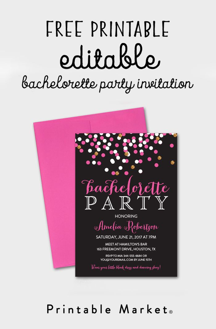 Free Printable Bachelorette Party Invitation Gray Hot Pink Confetti Market