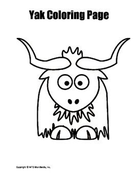 Printable Yak Coloring Page Worksheet Coloring Pages Easy Drawings For Kids Animal Coloring Pages
