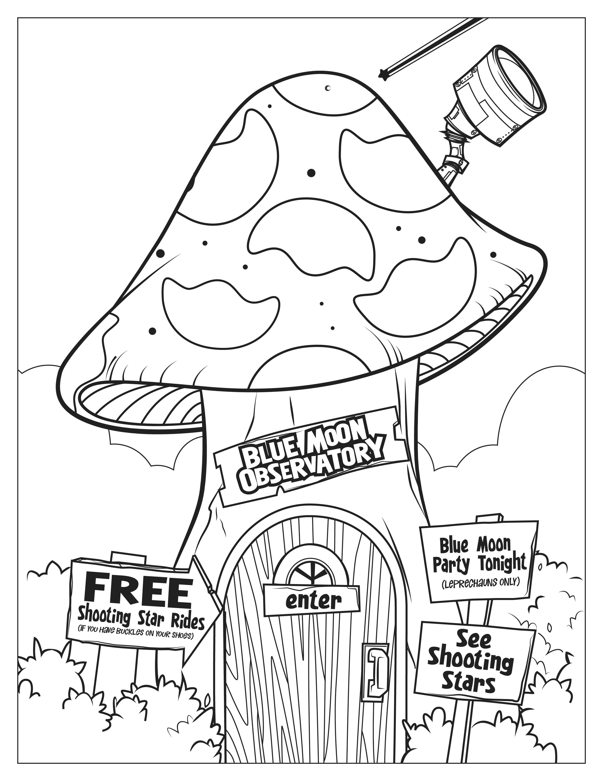 Lucky Charms Blue Moon Observatory Coloring Page Lucky The Leprechaun Heart For Kids Coloring Pages [ 3300 x 2550 Pixel ]
