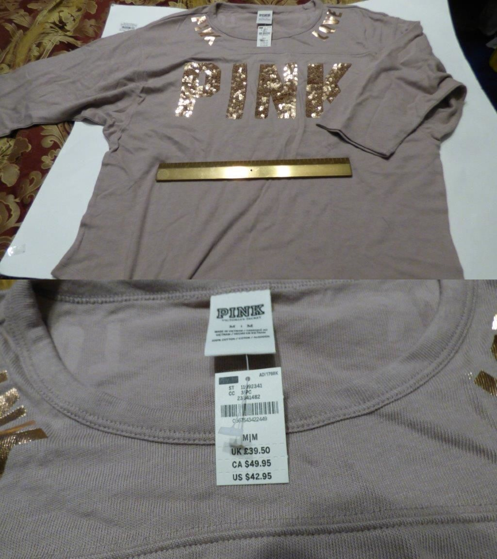 Women T Shirts: Pink By Victoria S Secret Crew Tee Shirt Color Brown Medium Nwt -> BUY IT NOW ONLY: $35 on eBay!