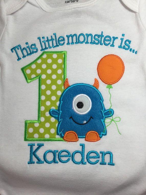 Boys Little Monster First Birthday Shirt LittleChickiesClips More