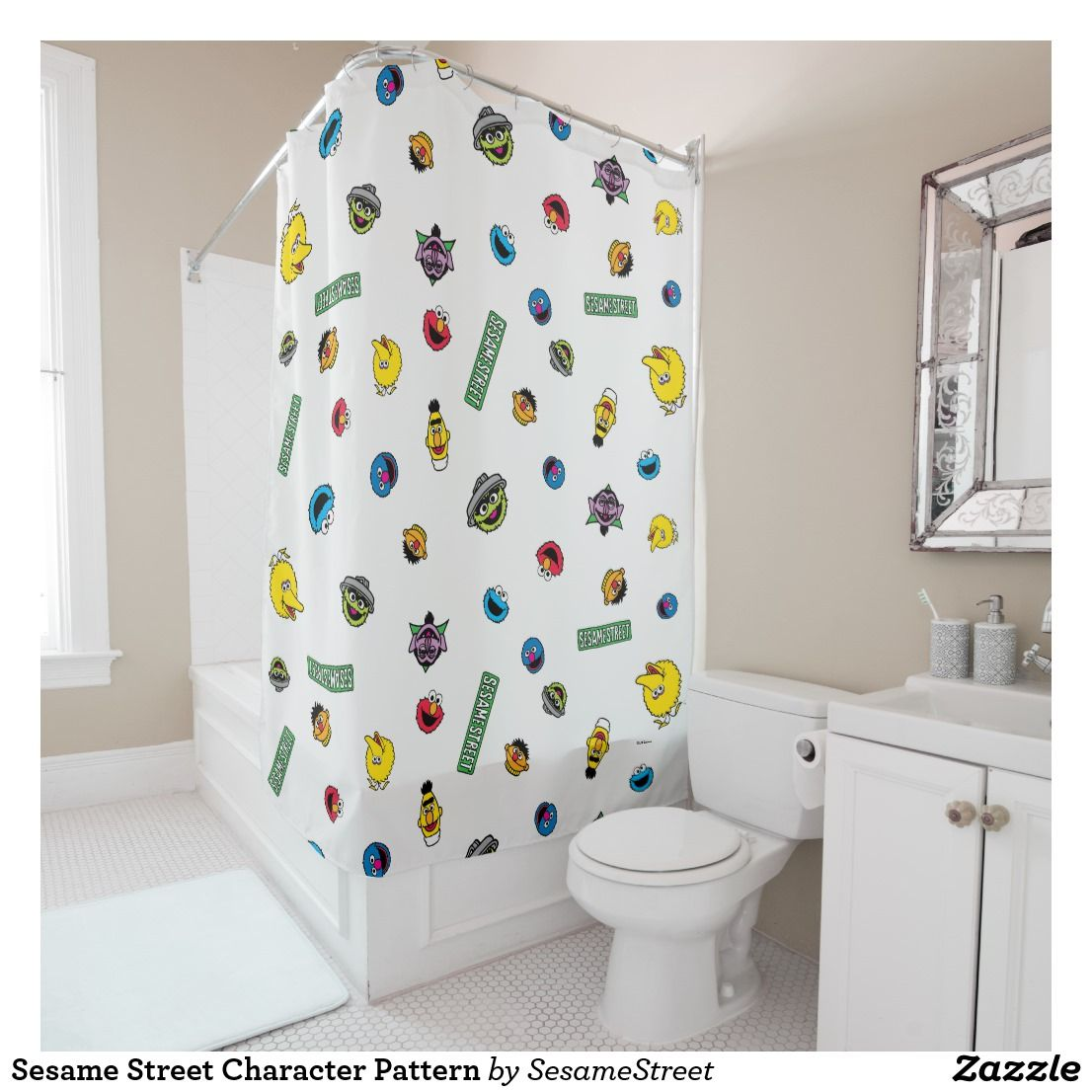 Sesame Street Character Pattern Shower Curtain Zazzle Com With Images Patterned Shower Curtain Colorful
