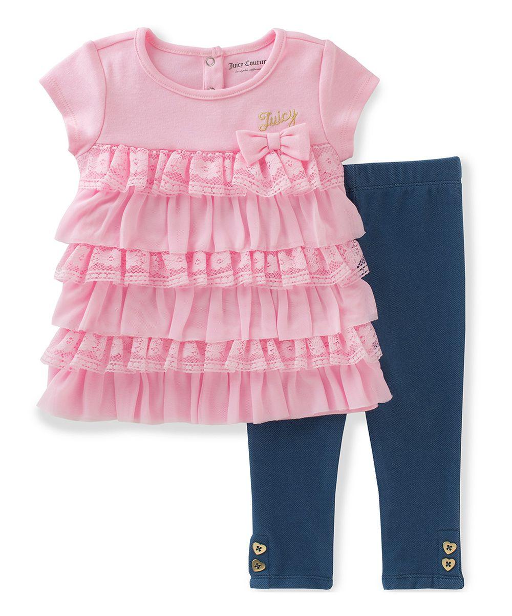 Blush Ruffle Tunic & Navy Jeggings - Infant