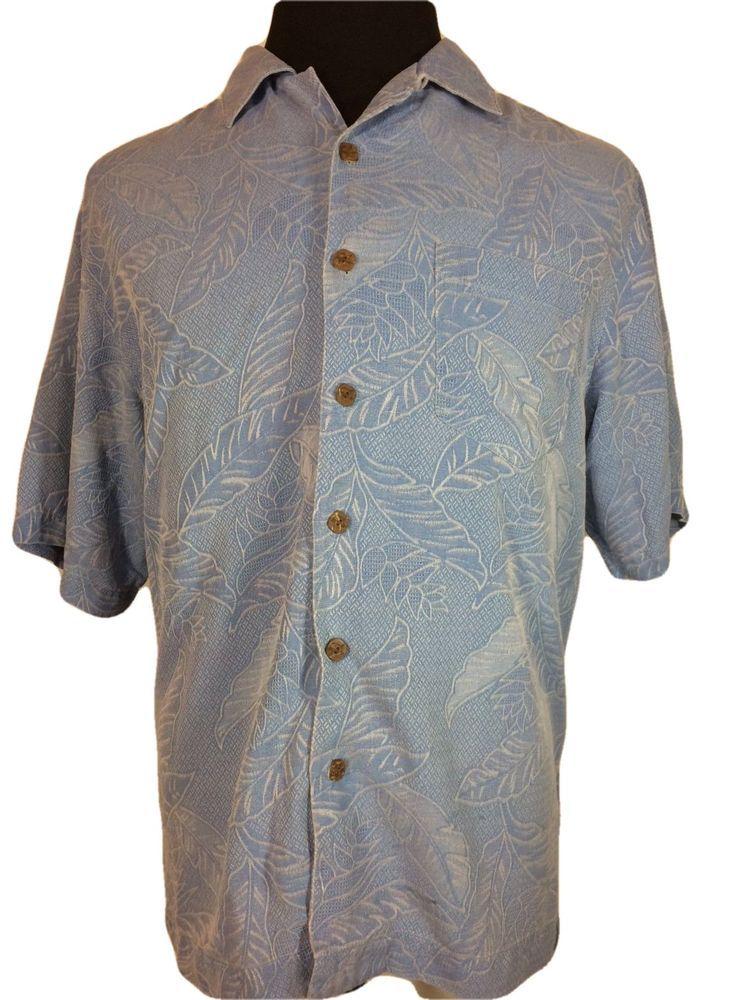 33f4a4938a488 Bermuda Bay Mens MEDIUM Hawaiian Shirt Light Blue Palm Leaves Silk Short  Sleeve  BermudaBay  Hawaiian