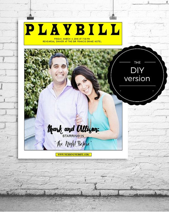 PLAYBILL Broadway POSTER or CENTERPIECE Template for Wedding ...