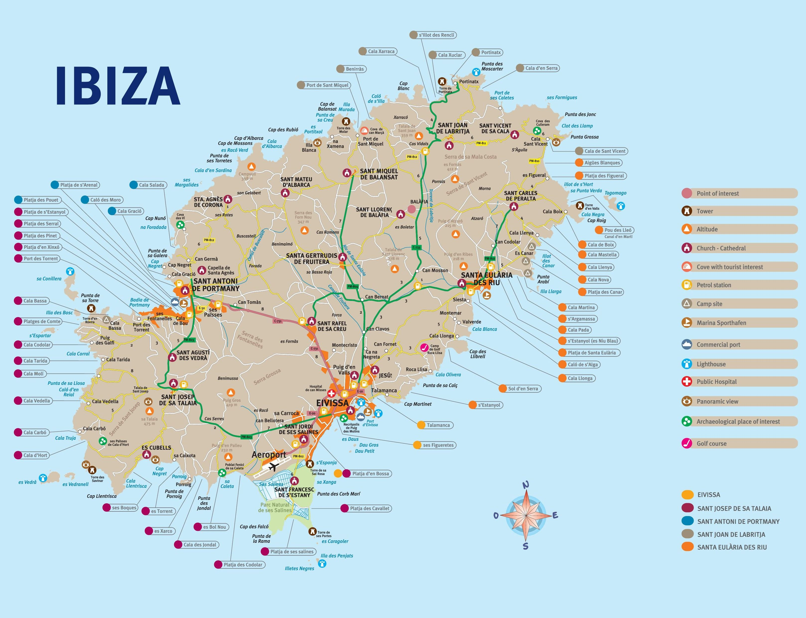 Ontheworldmap Com Spain Islands Ibiza Ibiza Tourist Map Jpg