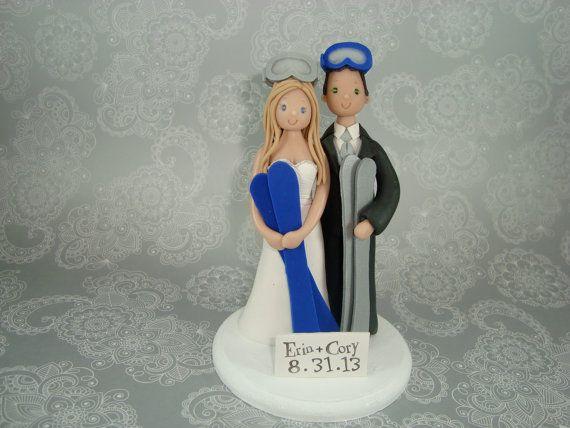 Personalized Bride Groom Ski Theme Wedding Cake Topper