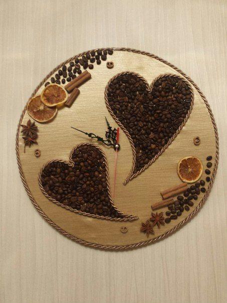 Часы с кофейными зернами своими руками