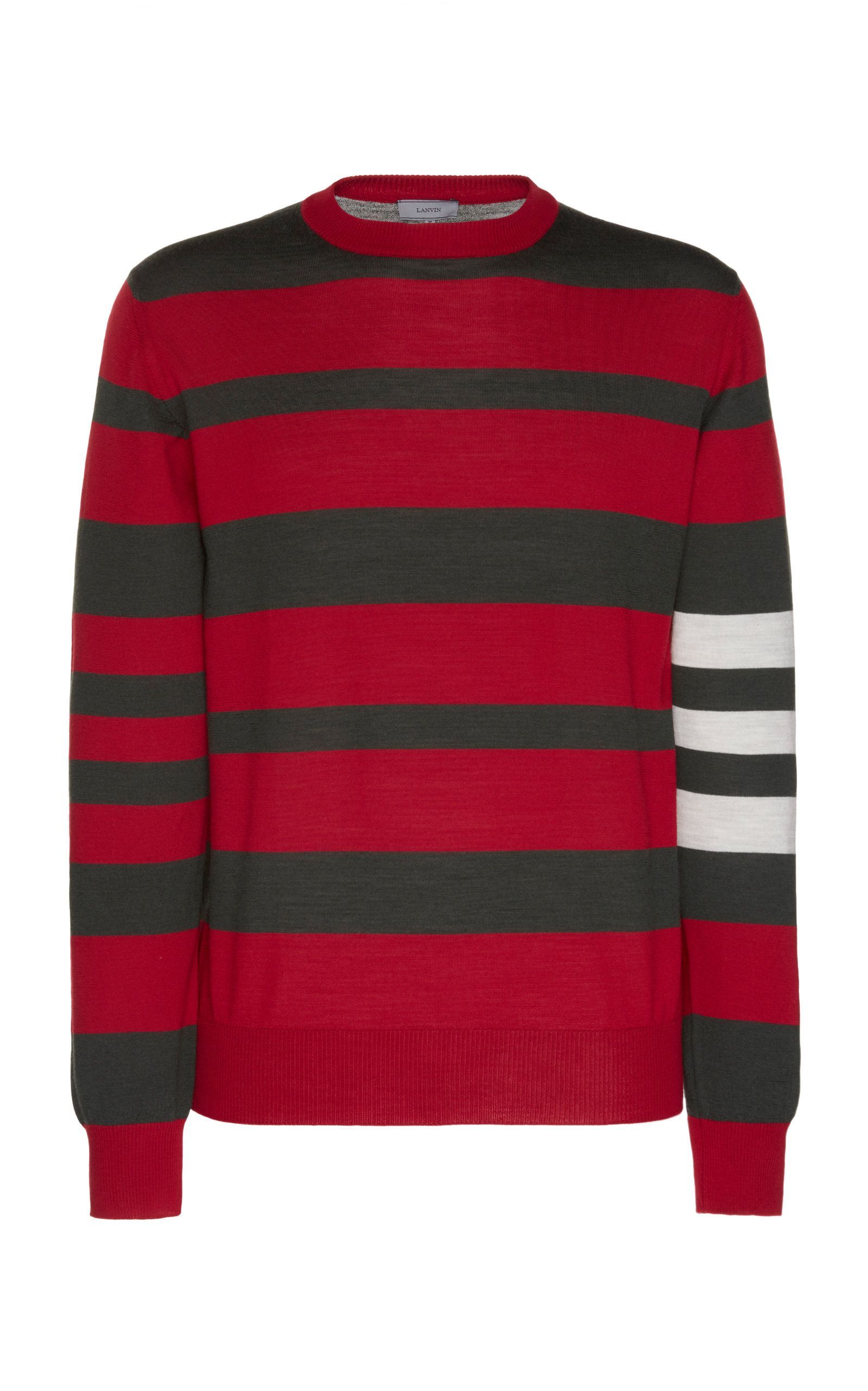 Mens New Neck Casual Knitwear Knitted Striped Crew Pullover Sweater Jumper Top