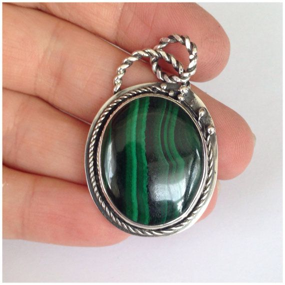 Malachite Pendant Fine Silver and Sterling by SoulLightVibrations - SoulLightVibrations Malachite Pendant Fine Silver and Sterling Silver Handmade Vine Design Unique - via - https://www.etsy.com/shop/SoulLightVibrations
