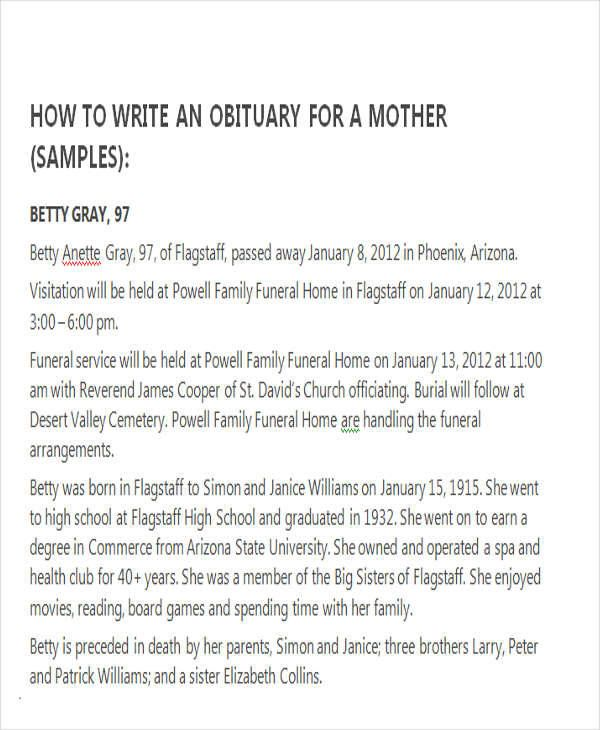 Sample Obituary For Mother Check more at
