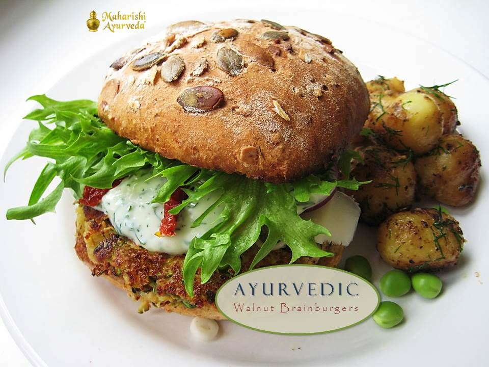Ayurvedic Walnut Brainburgers (Veggieburgers)  According to Ayurveda, nuts of all kinds in moderation, nut milks and nut butters, and sunflower and pumpkin seeds are excellent for pacifying Vata. More: http://ow.ly/nxsIh