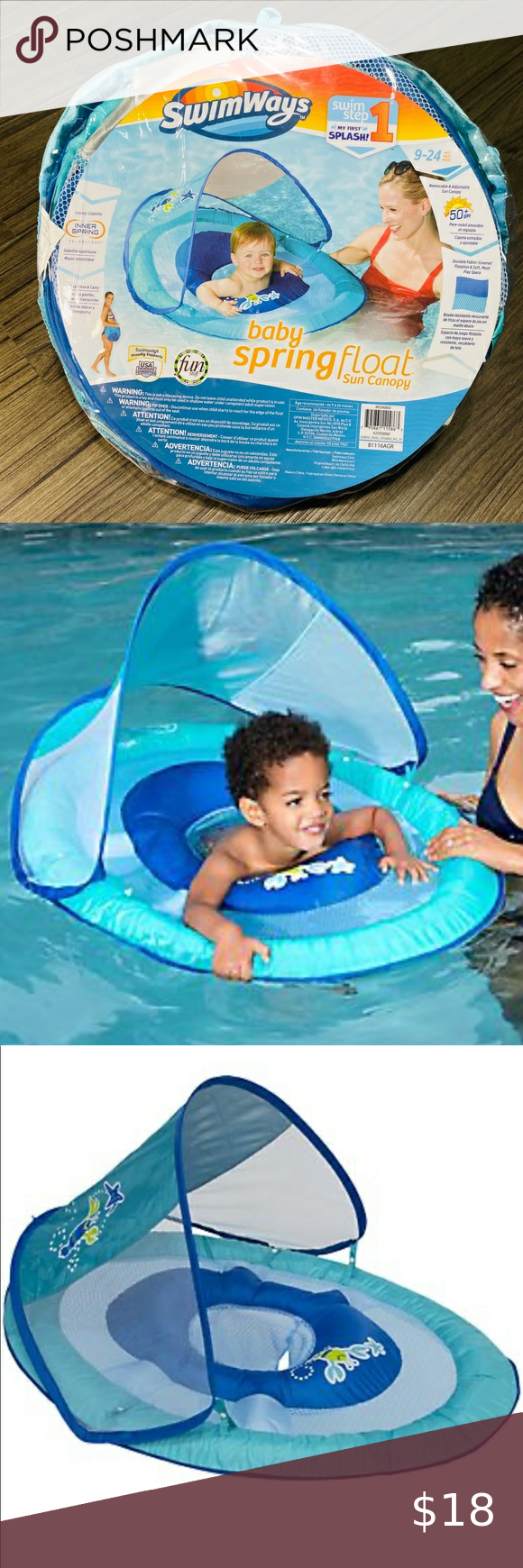 Swimways Baby Spring Float With Canopy Blue With Ducks : swimways, spring, float, canopy, ducks, Swimway, Spring, Float, Canopy, Baby,, Canopy,, Child, Safety