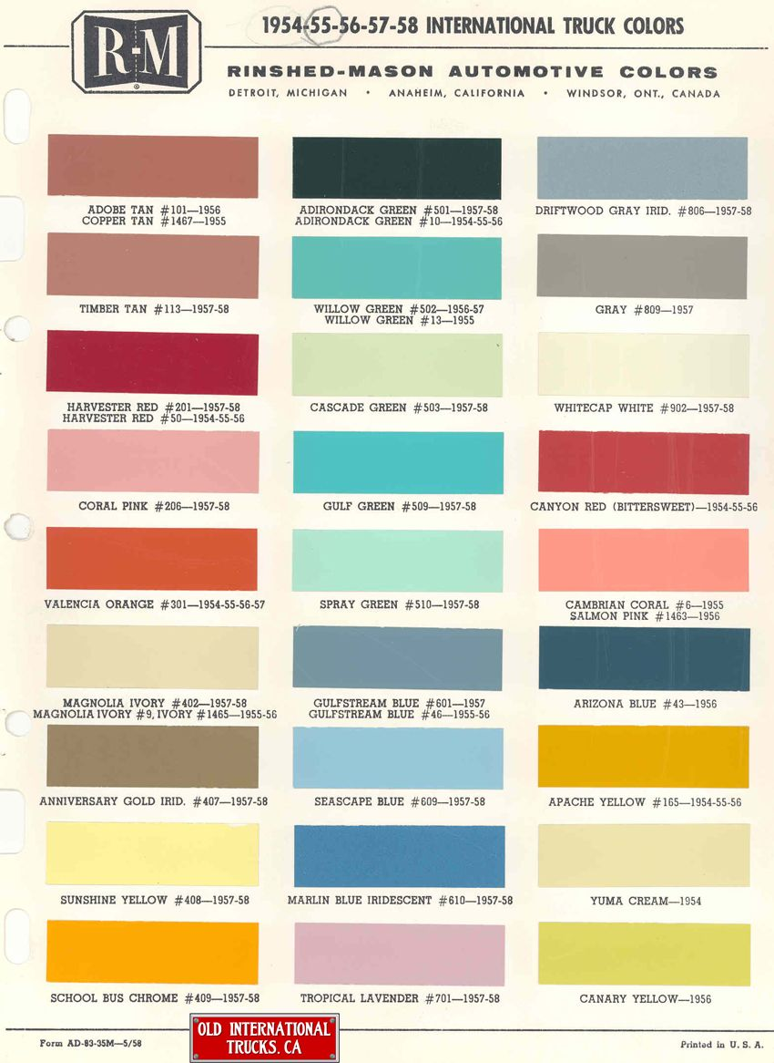 1954 To 1958 International Truck Colors International Truck Color Chart Paint Charts