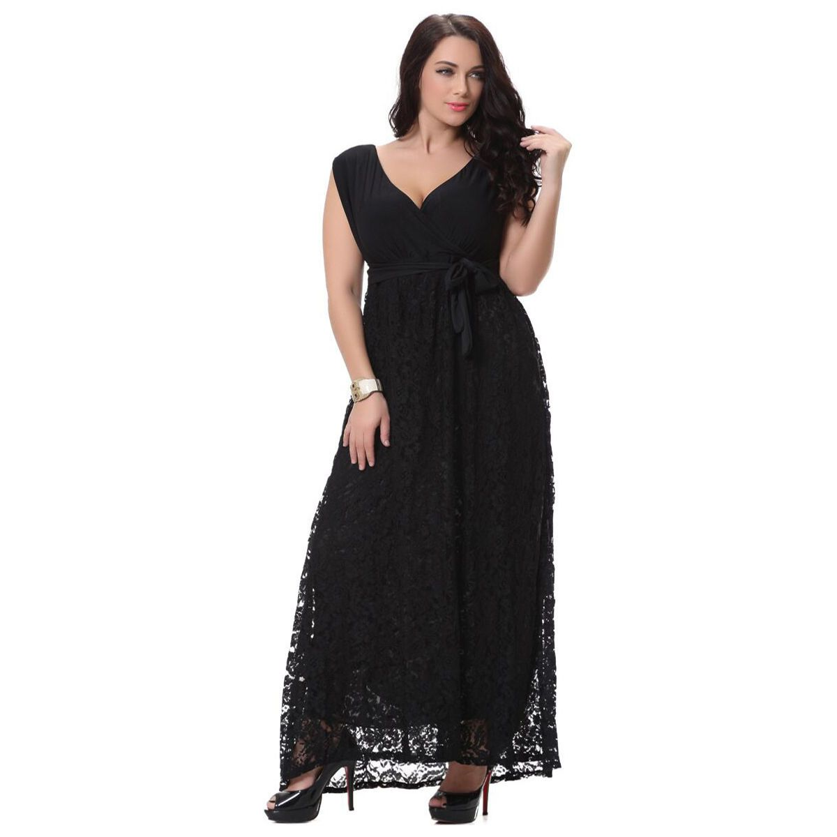 Womenus lace cocktail party wedding prom long dress maxi gown plus