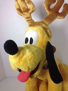 "Disney Pluto Jingle Bells Plush Reindeer Antlers Stuffed Animal 16"" 41cm Holiday  