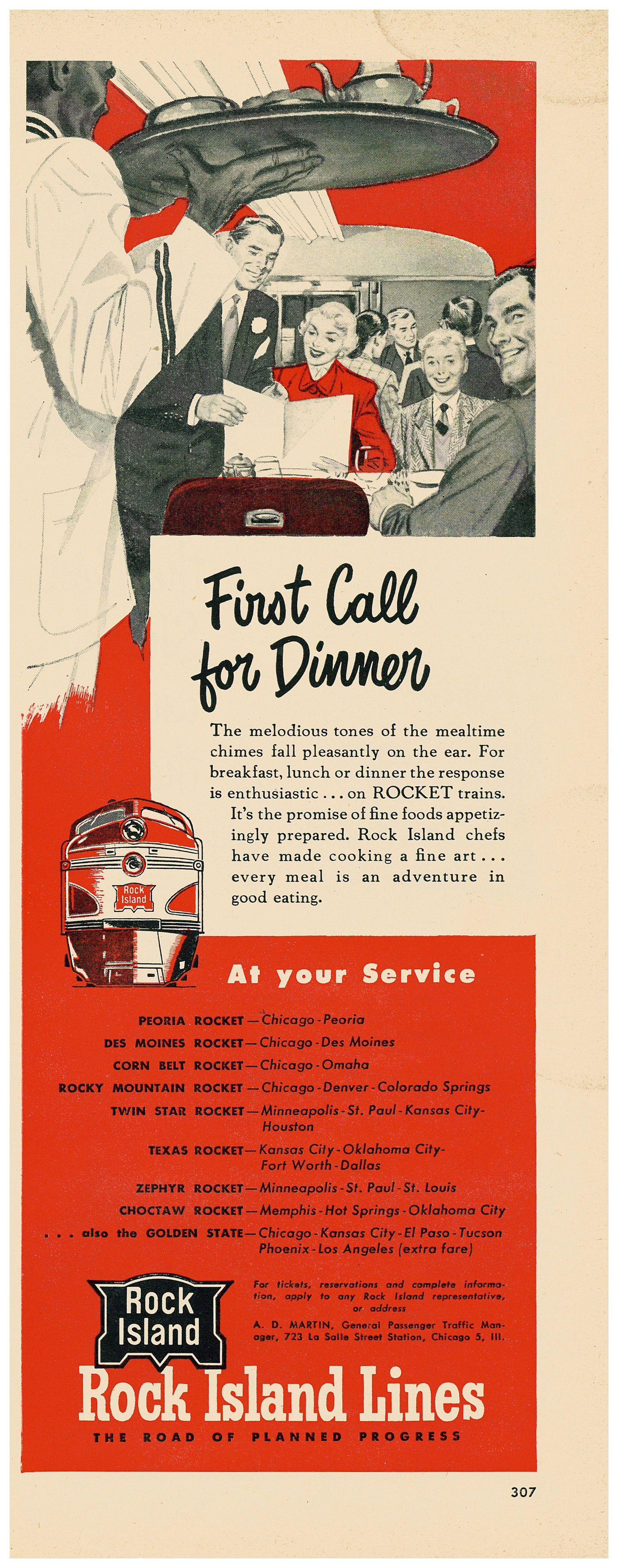 1951 Rock Island Lines Rocket Dining Car Ad Rock Island Railroad Rock Island Old Advertisements