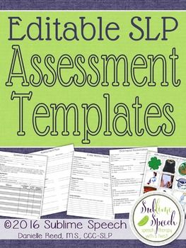 Editable Slp Assessment Templates  Speech Therapy Language And