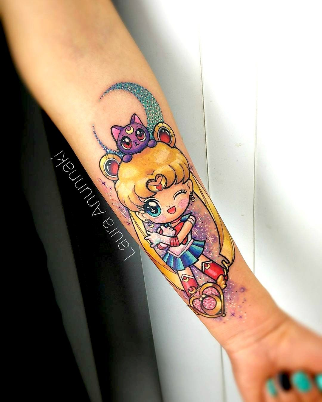 Eryka Jensen Sailor Moon Sleeve of Epicness Moon tattoo