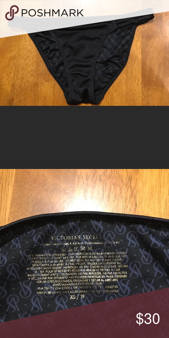 5a7c0cd7bdd16 Victoria's Secret Strappy Bikini Bottom Black Strappy VS bikini ...