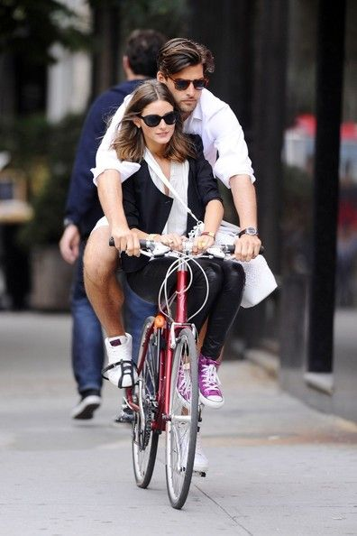 Olivia Palermo and Johannes Huebl on a bike together. SO adorable!!