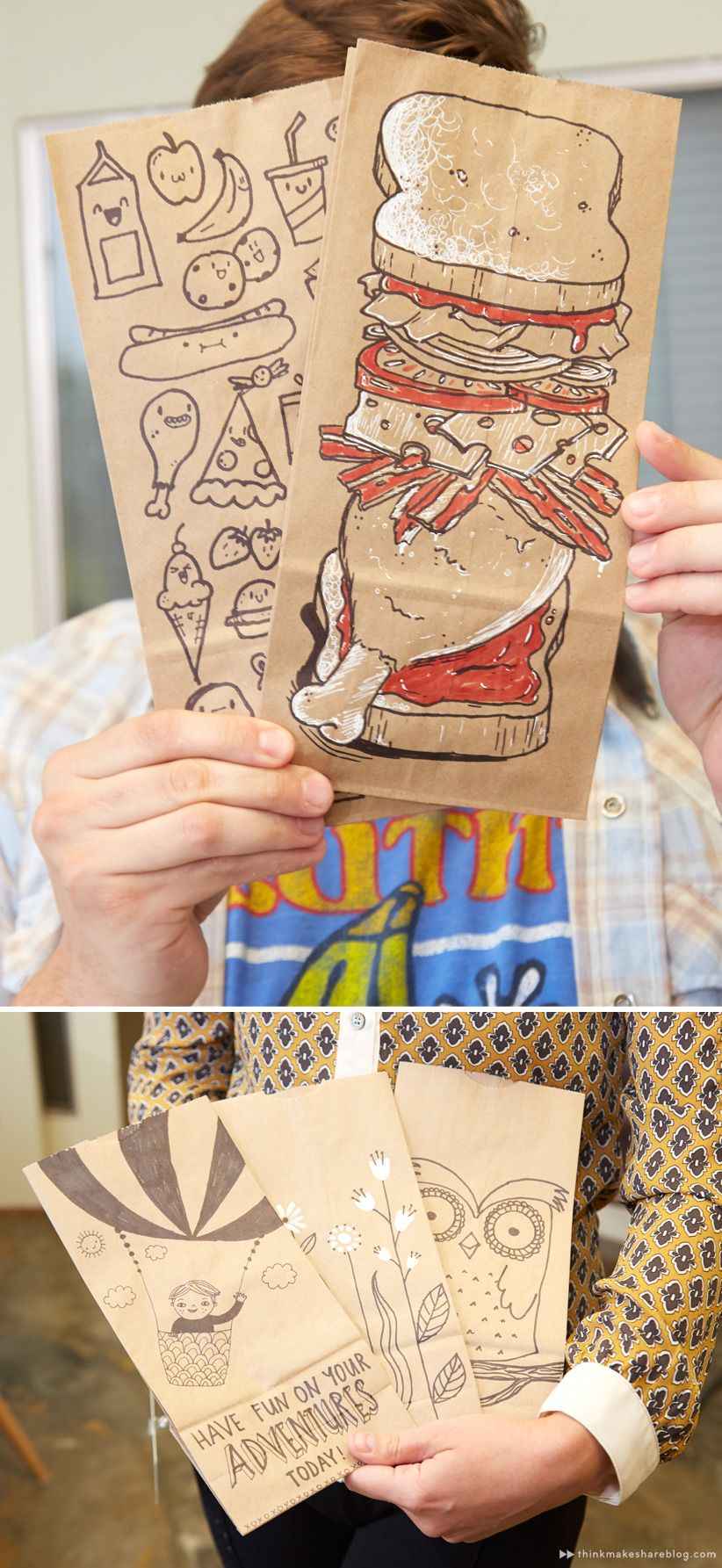Back To School With Creative Lunch Bags And Totes Think Make Share Brown Paper Lunch Bags Lunch Bag Creative Lunch