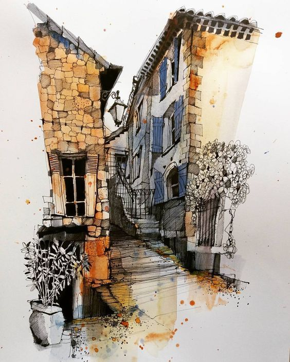 Watercolor And Pen Ink Architecture Painting Watercolor