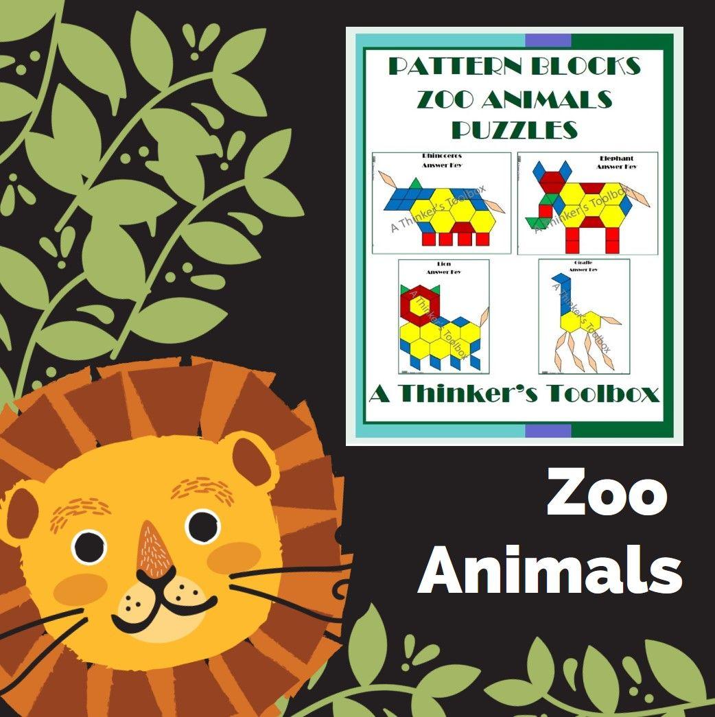 Zoo Animals Pattern Block Puzzles Worksheets Animal Puzzle Zoo Animals Homeschool Math [ 1045 x 1042 Pixel ]
