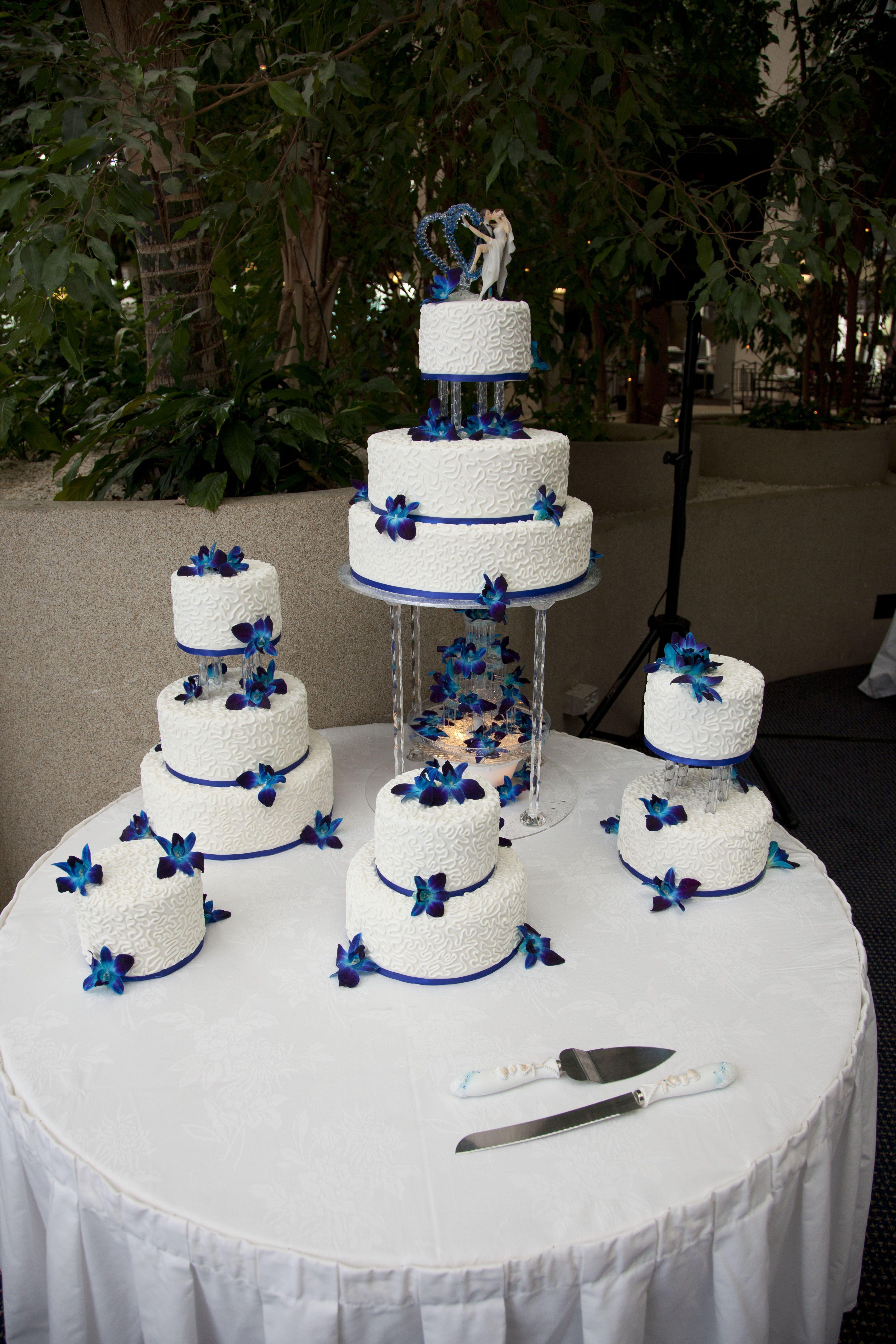 Royal Blue Wedding Cake Decorated With White Chocolate