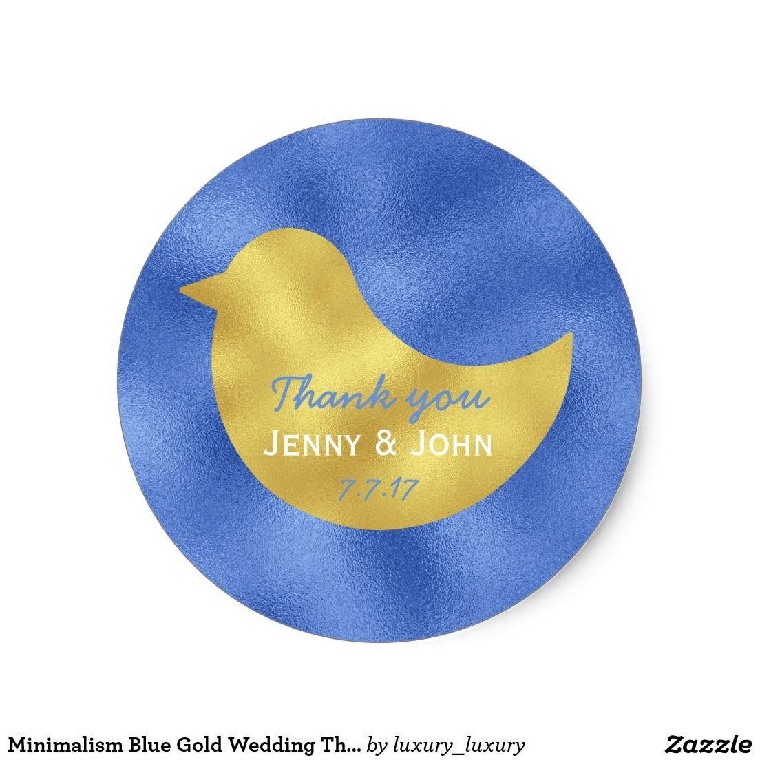 Minimalism Blue Gold Wedding Thank you Round Sticker