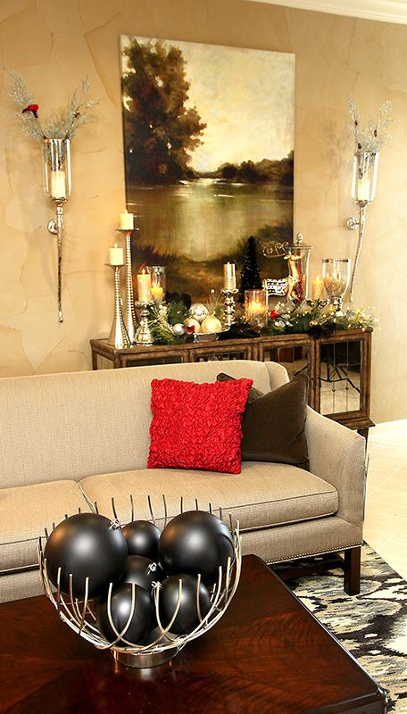 gold and black holiday decorations and interior design by lucia