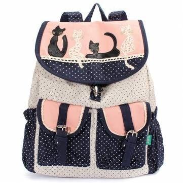 Women Cat Canvas Backpack Girls Dot Drawstring Multi-Pocket School ...