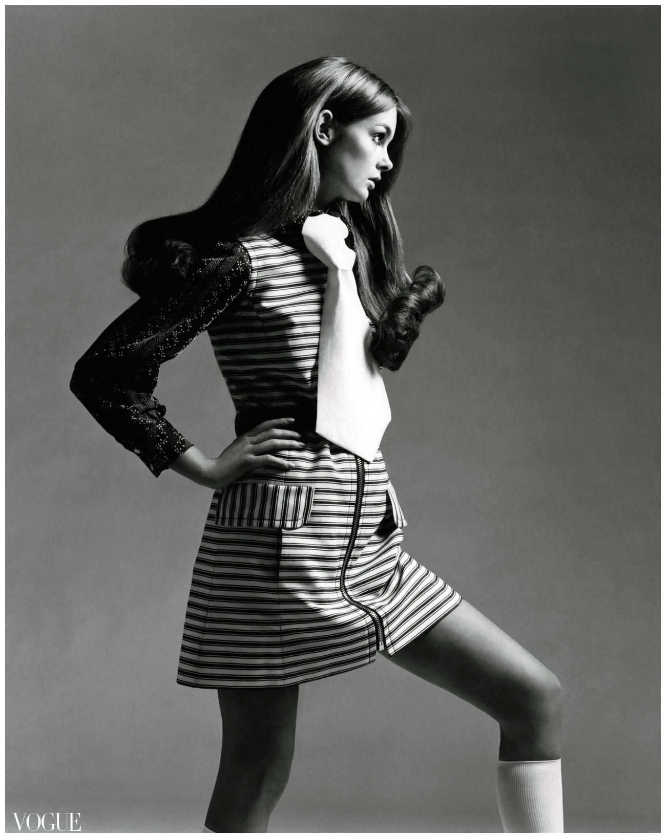 b19179c27  Jean Shrimpton - striped denim mini-dress  1969 Vogue