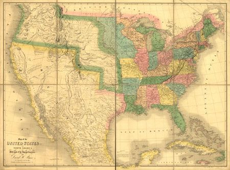 US-Mexico Map, 1839 | Genealogy & Family History | Map, America ...