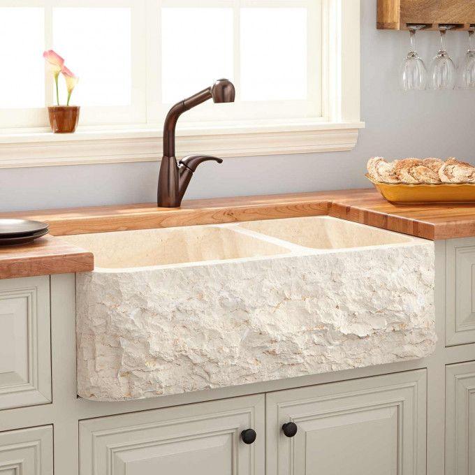33 Polished Marble 70 30 Offset Double Bowl Farmhouse Sink Chiseled Apron Farmhouse Sink Farmhouse Sink Kitchen Tuscan Kitchen