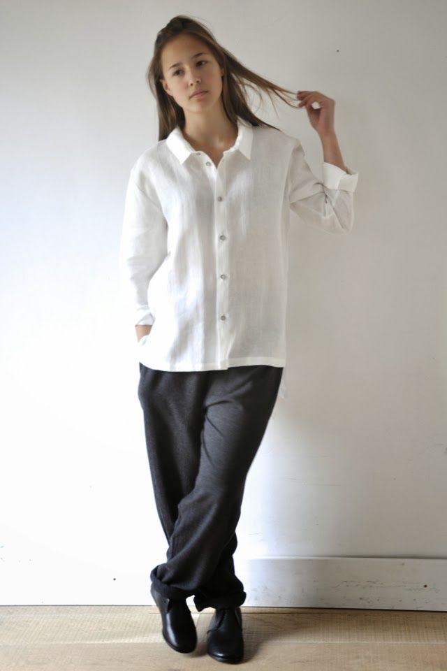 Jeanne porte une tenue de noel n 9 une chemise homme en lin blanc un pantalon peintre en - Porte chemise dressing ...