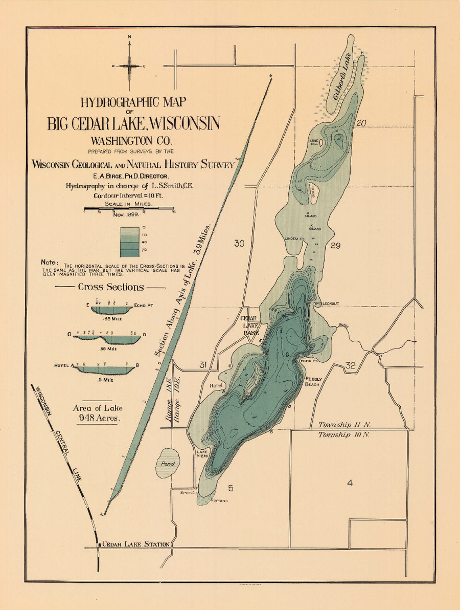 Map Of The Day July  Hydrographic Map Of Big Cedar Lake - Map of america wisconsin