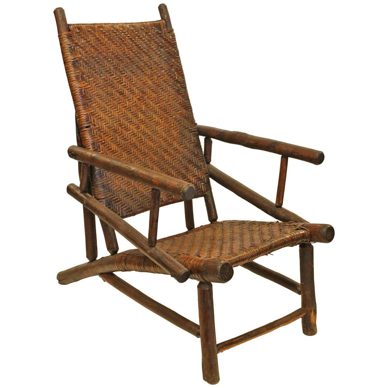 Rare Large Old Hickory Lounge Armchair For Sale at 1stdibs