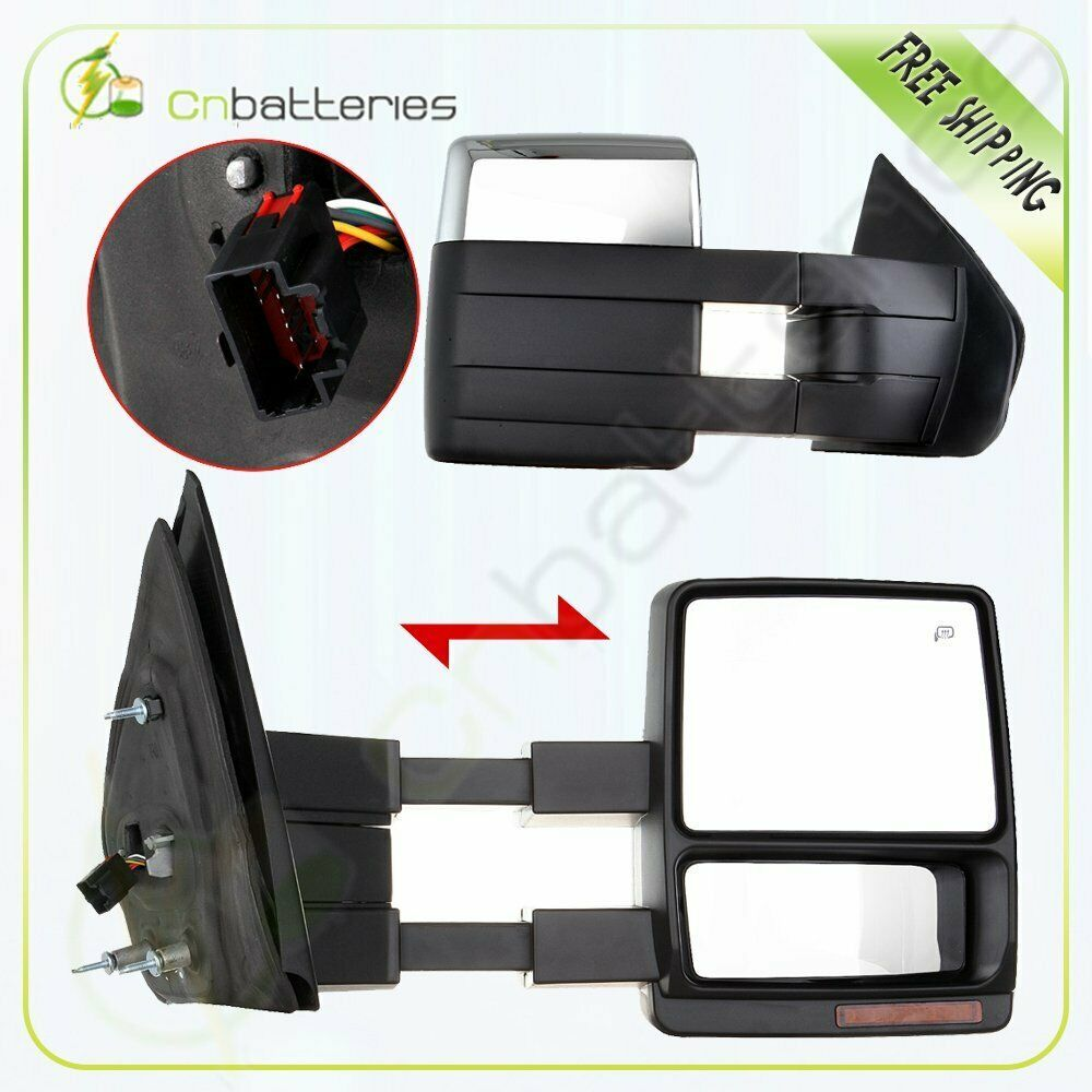 Driver LH Side Power Tow Heated Signal Chrome Mirrors for 07-14 Toyota Tundra