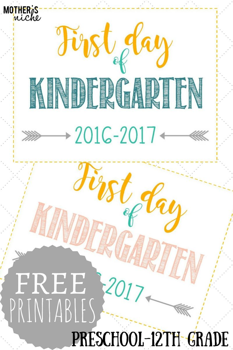 First Day Of School Signs Free Printables Pre School 12th Grade School Signs First Day Of School Pictures Kindergarten First Day